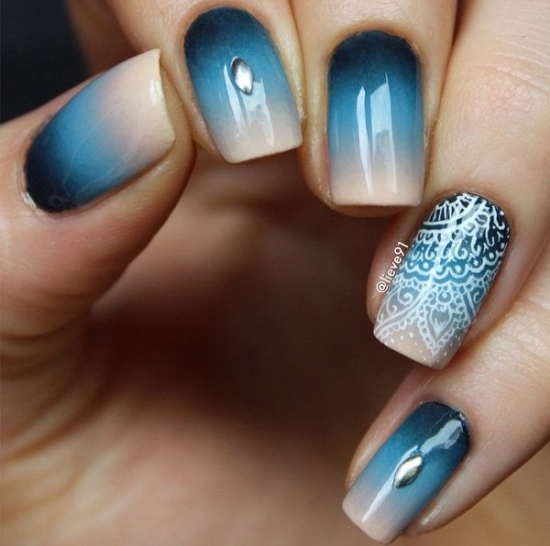 Blue Gel Nail Designs