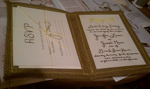 Burlap Wedding Invitations DIY