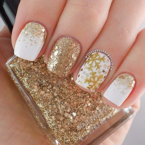 Gold Design Gel Nail Designs