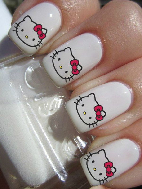 Hello Kitty Gel Nail Designs
