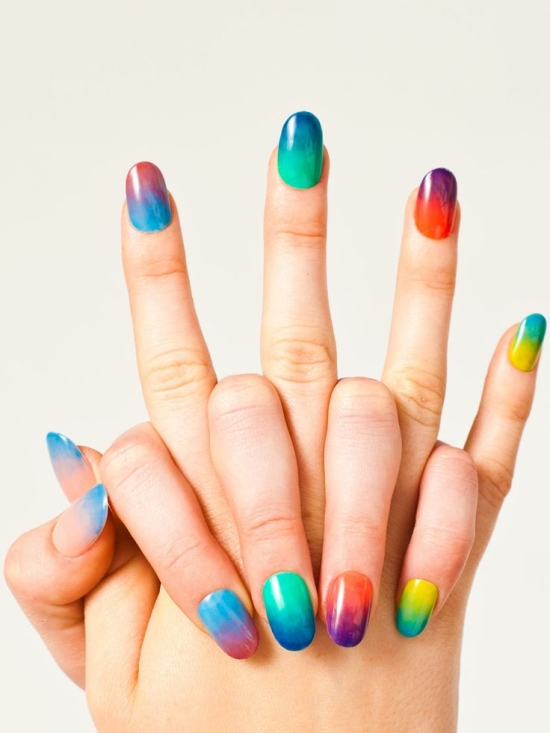 Rainbow Gel Nail Design