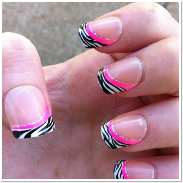 Zebra Gel Nail Designs