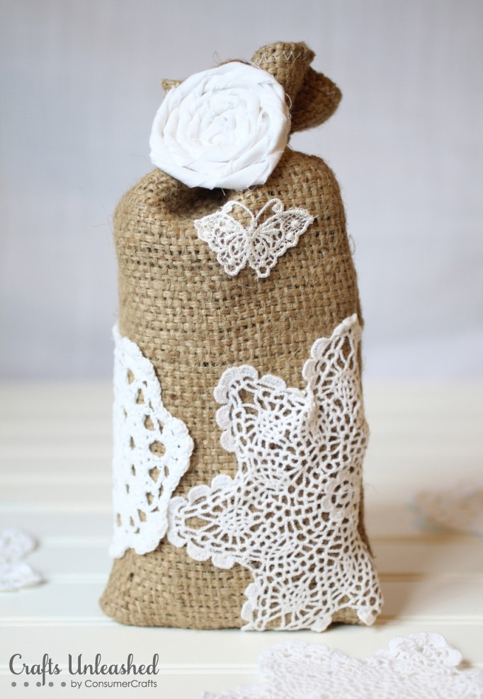 Burlap And Lace Gift Bags DIY