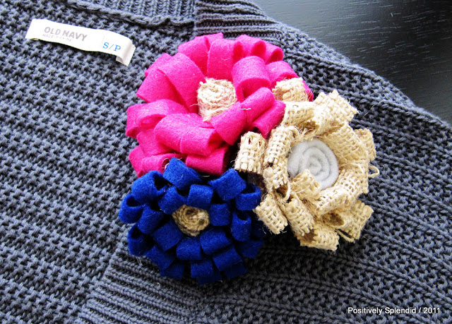 Burlap Flower Brooches