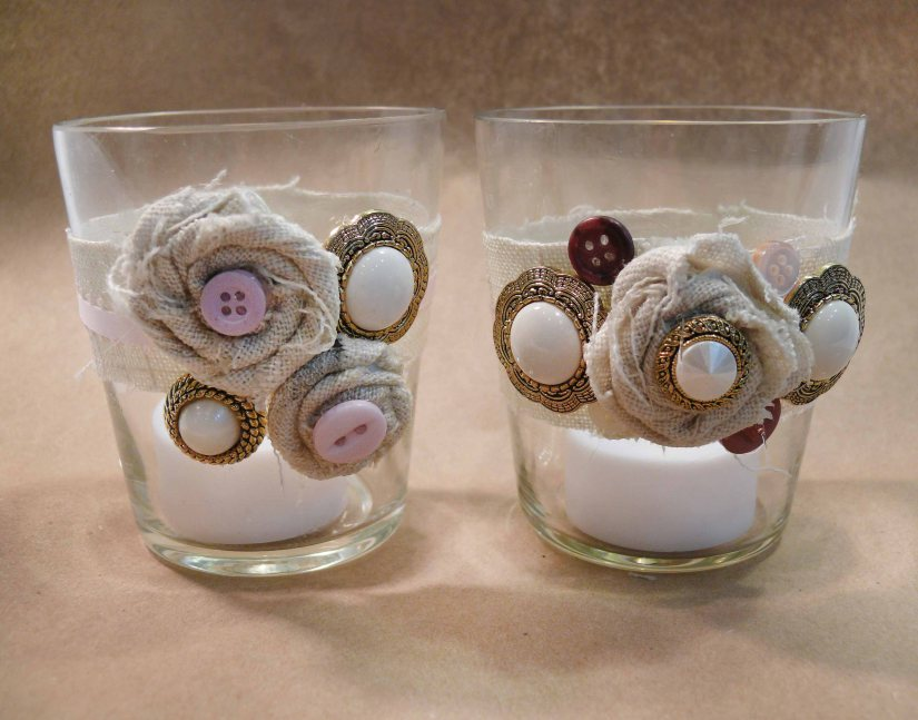 Burlap Flowers With Pearls