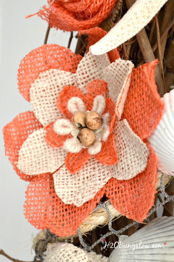 Colored Burlap Flowers