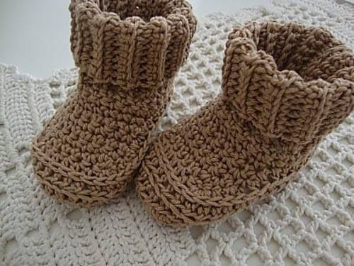 Crochet Cuffed Baby Booties Knitted