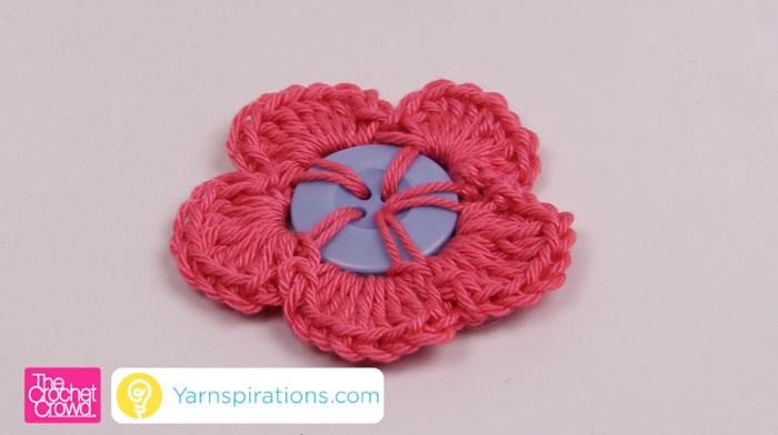 Crochet Flower With Button Tutorial