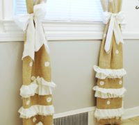 DIY Burlap Curtain Tie Backs with Polka Dots