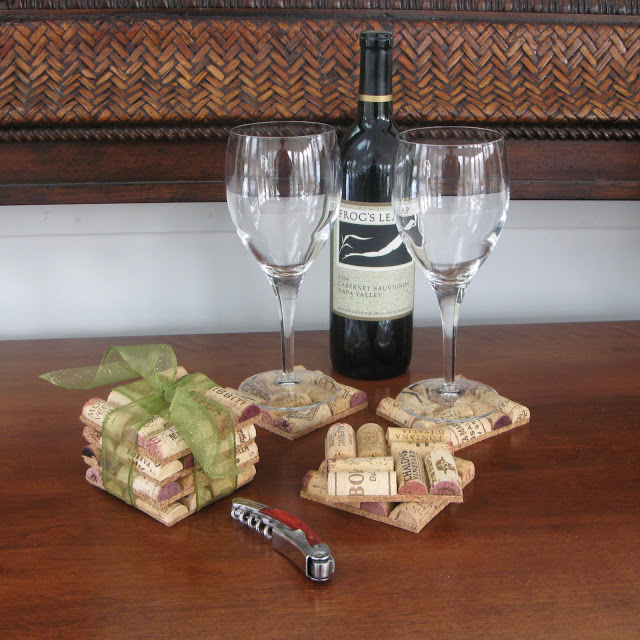 DIY Square Wine Cork Coasters