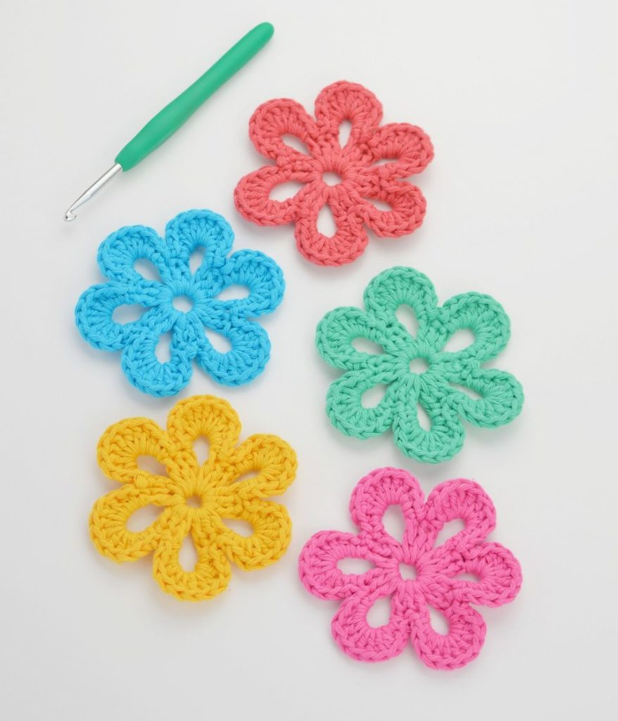 Flat Crochet Flower Pattern