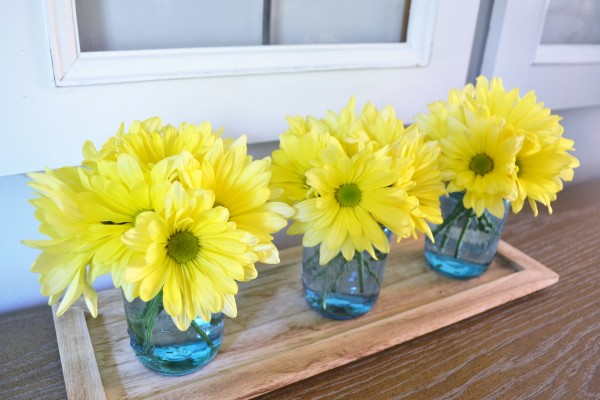Flowers In Blue Mason Jars Ideas