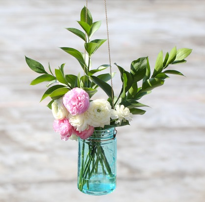 Hanging Mason Jars With Flowers DIY