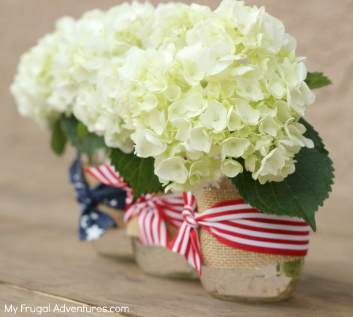 Mason Jar Flower Arrangements Using Burlap
