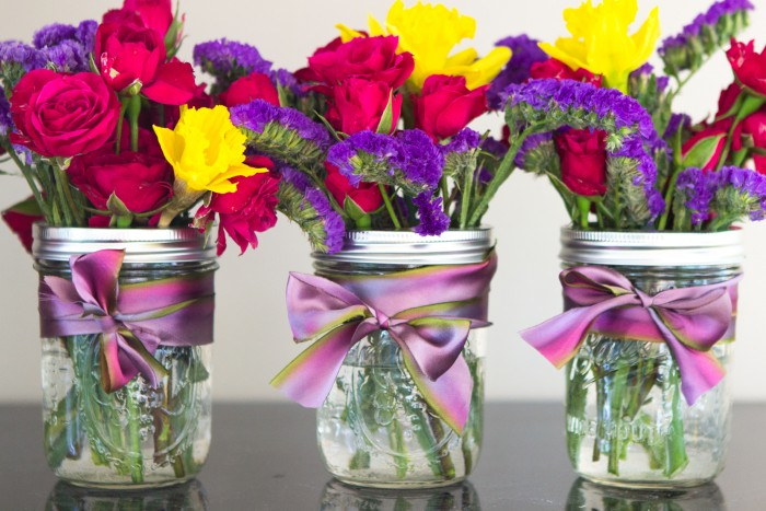 Mason Jar Flower Arrangements With Ribbon
