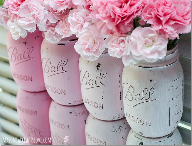 Pink Flowers In Mason Jars Ideas