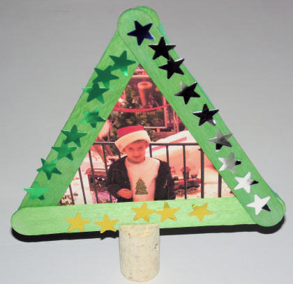 Popsicle Stick Christmas Tree Frame DIY