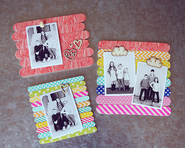 Popsicle Stick Frames Washi Tape DIY Craft