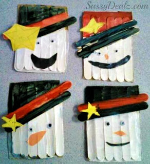 Popsicle Stick Snowman Frame DIY