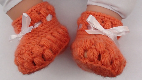 Puff Stitch Crochet Baby Booties