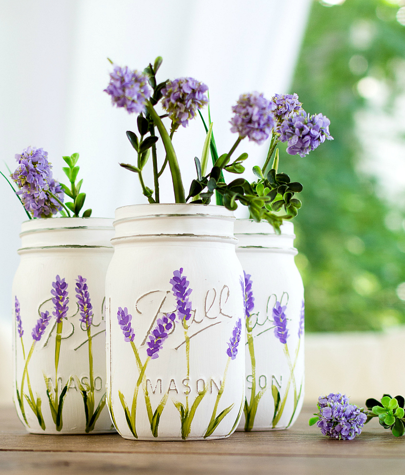 Purple Flowers In Ball Mason Jars