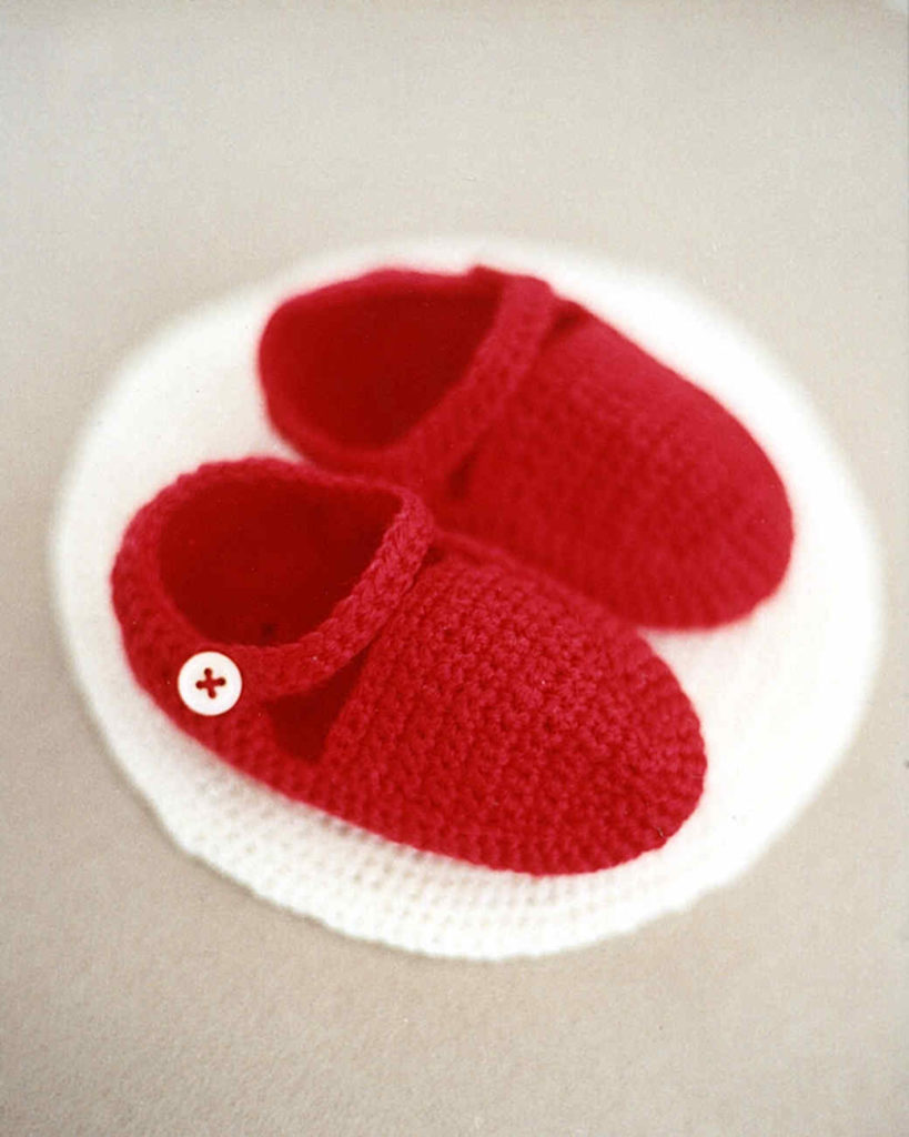White or Red Crochet Baby Booties