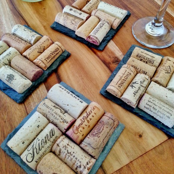 Wine Cork Coasters Slate
