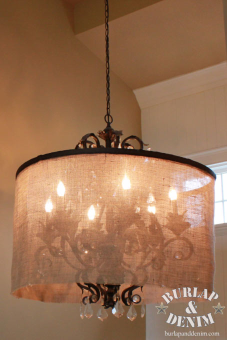 DIY Burlap Chandelier Lamp Shades