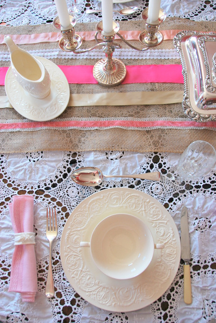 DIY Burlap Table Runner With Ribbon