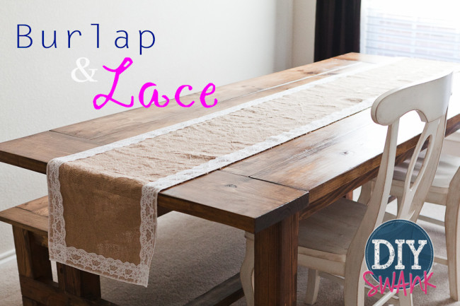 DIY Burlap Table Runner with Lace
