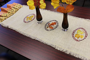 DIY Embroidered Burlap Table Runner