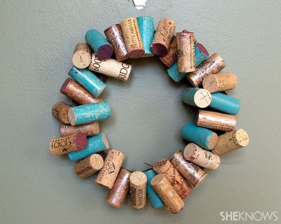 DIY Painted Wine Cork Wreath