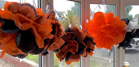 How to make Tissue Paper Pom Poms for Halloween