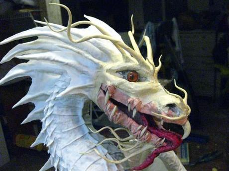 Paper Mache Dragon Head and Scales