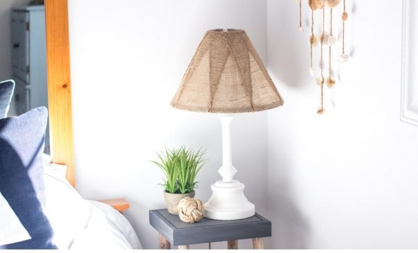 Refinish Table Lamp with Burlap Shade