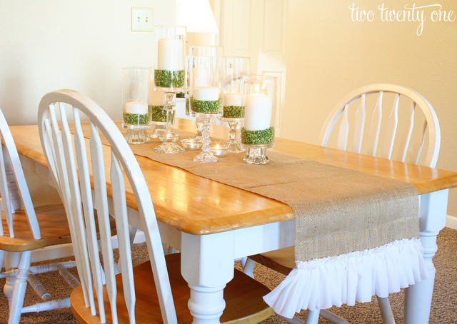 Ruffled Burlap Table Runners Ideas
