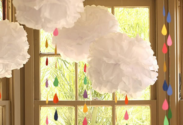 Tissue Paper Pom Poms Baby Shower DIY