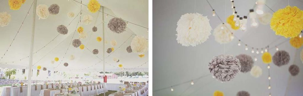 Tissue Paper Pom Poms with Lights