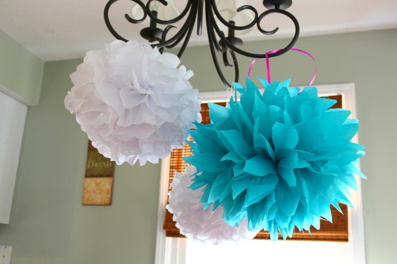 Tissue Paper Pom Poms with Ribbon