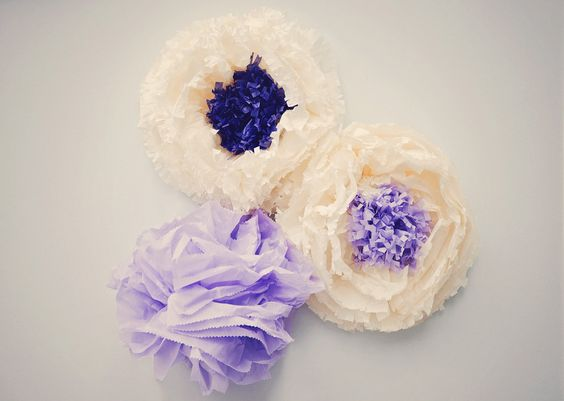 Tissue Paper Pom Poms with String