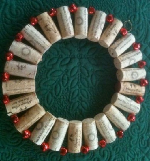 Wine Cork Jingle Bell Wreath