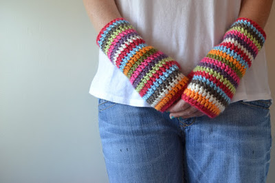 Colorful Striped Crochet Fingerless Gloves