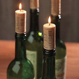 Cute Cork Candles on Wine Bottle Holders