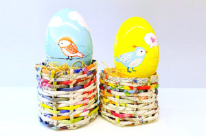 DIY Newspaper Egg Baskets for Easter