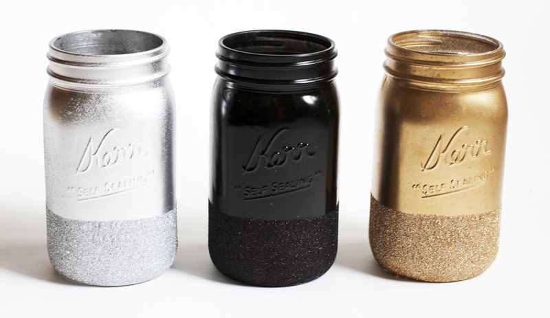 Glitter Dipped Painted Mason Jar Ideas