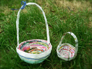Handmade Newspaper Basket with Handle
