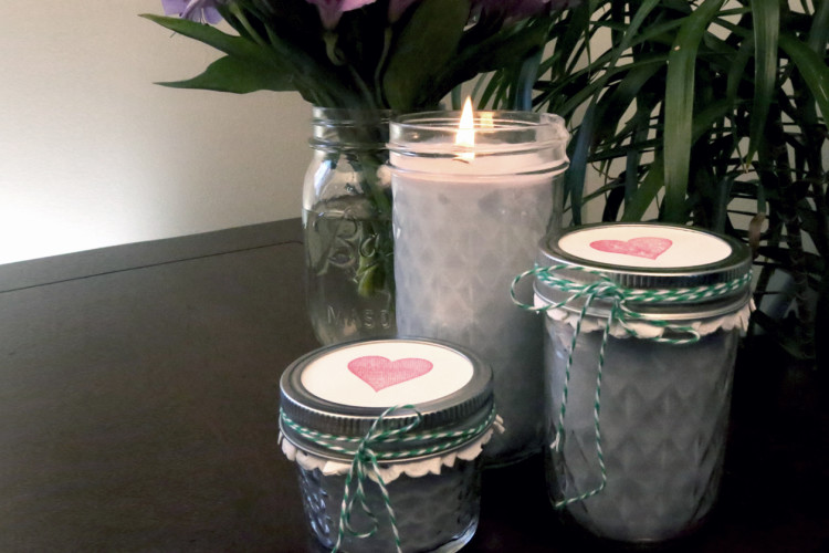 Homemade Candles in Mason Jars