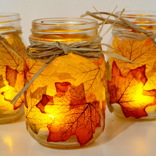 Mason Jar Candle Holders for Autumn