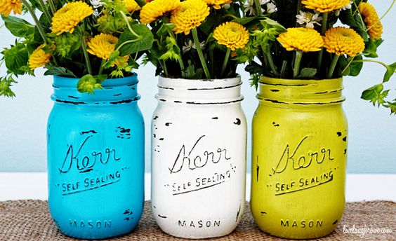 Mason Jar Hand Painted