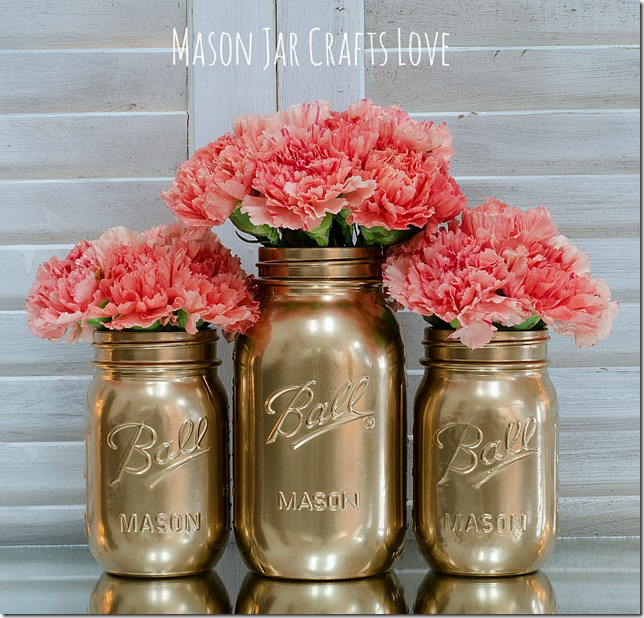 Mason Jars Painted Gold